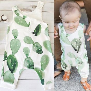 Summer time watercolor green romper