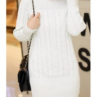 Casual Scoop Neck Solid Color All-Match Long Sleeve Women's Sweater