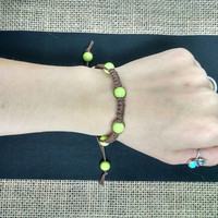 Brown and Green Adjustable Hemp Bracelet