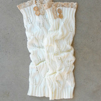 Ivory Knitted & Lace Boot Cuffs [6517] - $16.80 : Vintage Inspired Clothing & Affordable Dresses, deloom | Modern. Vintage. Crafted.