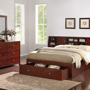 Poundex F9384Q 5 pc Nevila II brown natural finish wood queen bed set