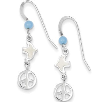 925 Sterling Silver Enameled Dove and Peace Emblem Dangle Earrings