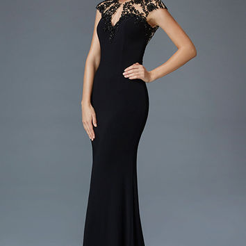 G2058 Lace Cap Sleeve Sleek Fit Jersey Prom Dress Evening Gown