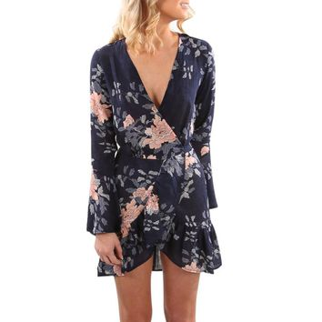Bohemian Summer Dress Womens Vintage Long Sleeve Maxi Evening Party Beach Floral V Neck Fit and Flare Empire Short Dress