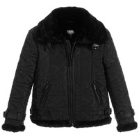 Karl Lagerfeld Boys 'Wild Block' Quilted Jacket