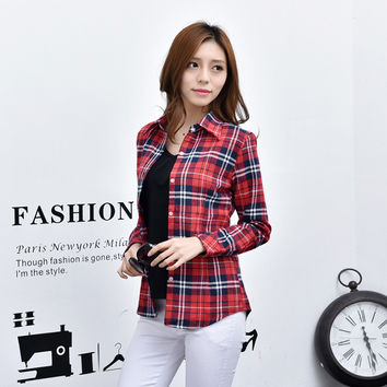 Brand 2016 New Girl's Flannel Plaid Shirt Women Causal Clothes Long Sleeve Blouses Plus Size Shirt Women Tops Blusas Femininas