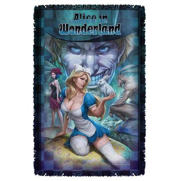 Alice in Wonderland Zenoscope Woven Throw Blanket