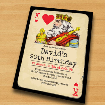 Poker Playing Card birthday invitation, Vintage poker king design invitation for any age 30th 40th 50th 60th 70th 80th card 434