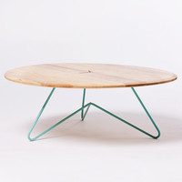 Coffee Table: Modern Design Ash Wood on SeafoamPowdercoated Metal