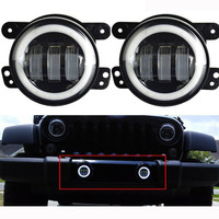 2pcs 4 Inch 60W Projector lens LED Fog Lights Halo Ring Angle Eye for Jeep Wrangler Jk TJ LJ Fog Lamp