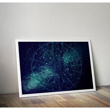 Reiki Charged Mandala Dark Blue Poster Bohemian Art Print Poster  Design no frame 20x30 Large