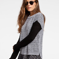 Full Tilt Color Block Womens Sweater Grey  In Sizes