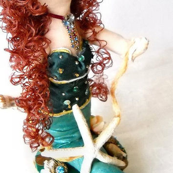Mermaid cake topper for beach wedding or under the sea birthday party, nautical decoration, mixed media jeweled art doll in green