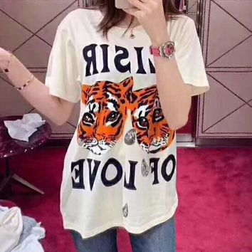 GUCCI Summer Fashion Women Casual Tiger Head Sequin Embroidery Short Sleeve T-Shirt Top