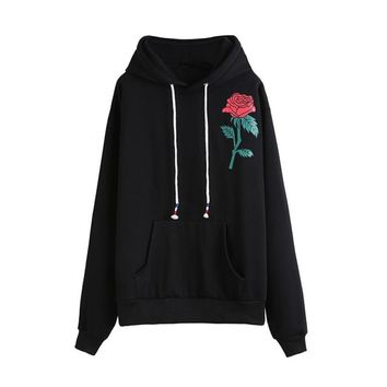 2017 Autumn Winter Hoodies Embroidered flowers Long Sleeve oversized hoodi Sweatshirt Rose Print Causal Tops Felpe Tumblr
