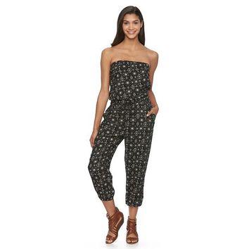 Juniors' Mudd Strapless Crop Jumpsuit