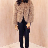 Fluffy Ostrich Feather Marabou Jacket in Nude