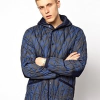 55DSL Jaupon Quilted Jacket With All Over Print - Blue
