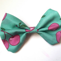 Pinup teal pink cherry small bow