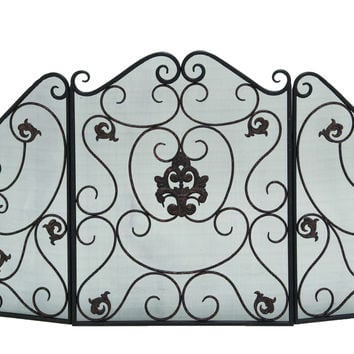 Metal Fire Screen With Traditional Floral And Wire Mesh Design