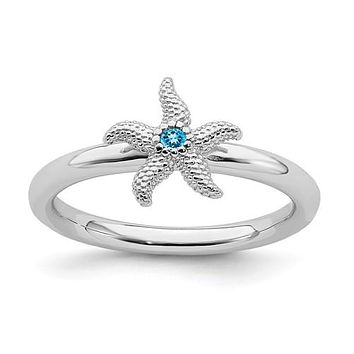 Sterling Silver Stackable Expressions Blue Topaz Starfish Ring