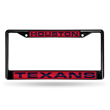 Houston Texans NFL Laser Cut Black License Plate Frame
