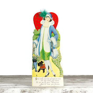 Vintage Valentine Card, 1920s Stylish Flapper, Girl with Dog, Easel Back
