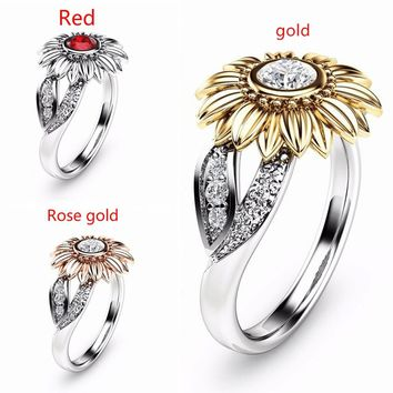 Unique Sunflower flower 925 Sterling Silver&18k Yellow Gold Filled Round Cut White Topaz Wedding Engagement Jewelry Ring Size 6-