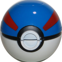 Pokemon Pokeball Grinder, Herb Grinder, Tobacco - Blue/Red
