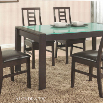 Casa Blanca CB-Alondra-GL-7PC 7 pc alondra espresso finish wood glass top dining table set