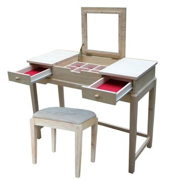 Unfinished Vanity Table Set with Bench and Flip Up Mirror