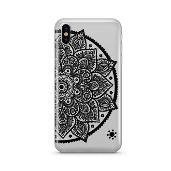 Black Henna Lotus Mandala - Clear TPU Case Cover
