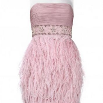 Sue Wong N9123 Ostrich Feather Cocktail Dress - Pink