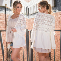 White Lace Flare Sleeve Open Front Cardigan
