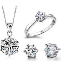 Bridal Wedding Jewelry Sets 925 Sterling Silver Jewelry Earrings Ring Necklaces Crystal Jewelry Necklace Set