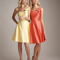 A-line One-shoulder Asymmetric Yellow Tea Length With Bow Bridesmaid Dress BD0364