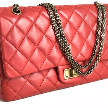 Chanel Red 2.55 Reissue Quilted Double Flap Classic Lambskin 227 Jumbo Bag AUTH
