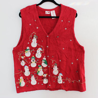 Ugly Christmas Sweater Vest With 15 FREAKIN' SNOWMEN!!  XL  692