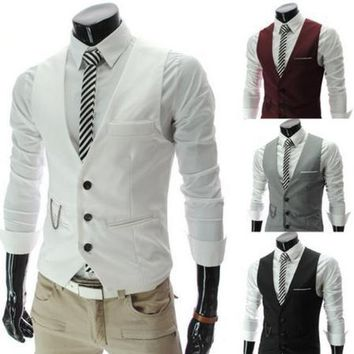 Real Worsted Acetate Fashion Leisure Suit Vest, Wedding Banquet Gentleman With V-neck Free Shipping