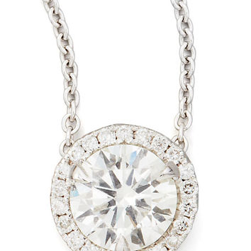18k White Gold Diamond Solitaire Pendant Necklace with Pave Halo, 1.03ctw G/SI2
