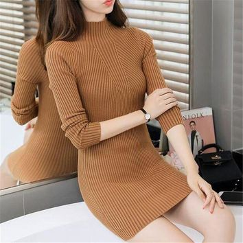 ESBONC. Women Turtlemeck Bodycon Winter Dress 2017 Spring Autumn Casual Long Sleeve Short Sweater Dresses Sheath Knitted Vestidos Slim