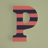 Hand Painted Letter P- Wooden Letter for nursery or child's room- Alphabet Wall, Bright Decoration- Ready to Ship Letter