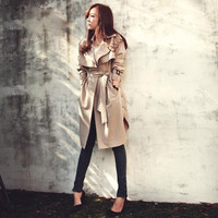 Woman Trench Coat Autumn Fashion Long Outerwear = 1839009860