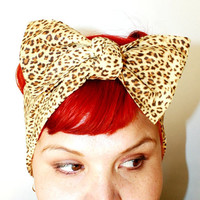 Bow hair tie, Vintage Inspired Head Scarf, Leopard Print, Light Brown, Retro, Rockabilly, 1940s, 1950s