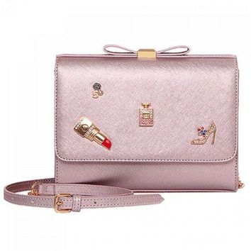 Fashion Bow and Metal Design Crossbody Bag For Women - Light Pink