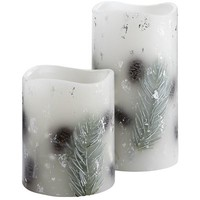 Silver Snow Pinecone LED Candles
