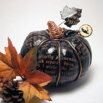 The Raven Pumpkin 123, black decoupage, Poe, Halloween, Fall decor, macabre, goth, poem, literature