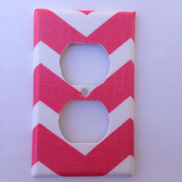 Coral Chevron Light Switch Plate / Coral Home Decor / Coral Chevron Decor / Coral Nursery Decor / Baby Shower Gift / Double Toggle Switch