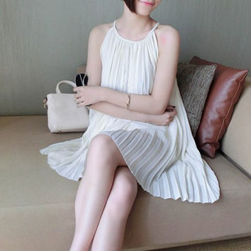 White Halter Pleated Chiffon Dress