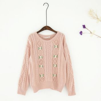 Women's Cable Knit Sweater Mori Girl O Neck Long Sleeve Crochet Flower Pullover Cute Sweater Female Casual Loose Pullovers